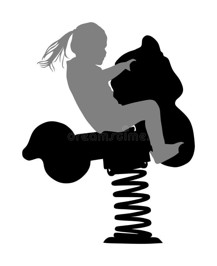 Kinder, die das Spielzeugpferdeschaukeln reiten M?dchen, das eine Fr?hlingspferdefahrt in der Parkspielplatzvektor-Schattenbildil stock abbildung