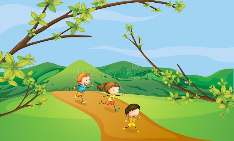 Kinder, die in den Hügeln spielen lizenzfreie abbildung