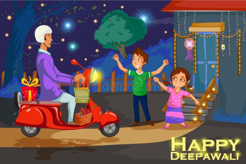 Kinder, die den Kracher feiert Diwali-Festival von Indien genießen lizenzfreie abbildung