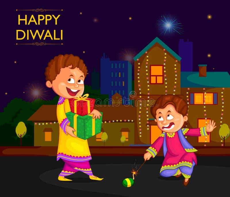 Kinder, die den Kracher feiert Diwali-Festival von Indien genießen stock abbildung