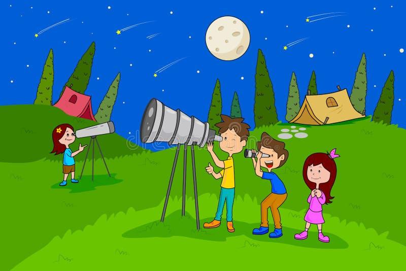 Kinder, die den Sommerlagerstern anstarrt Tätigkeiten genießen lizenzfreie abbildung