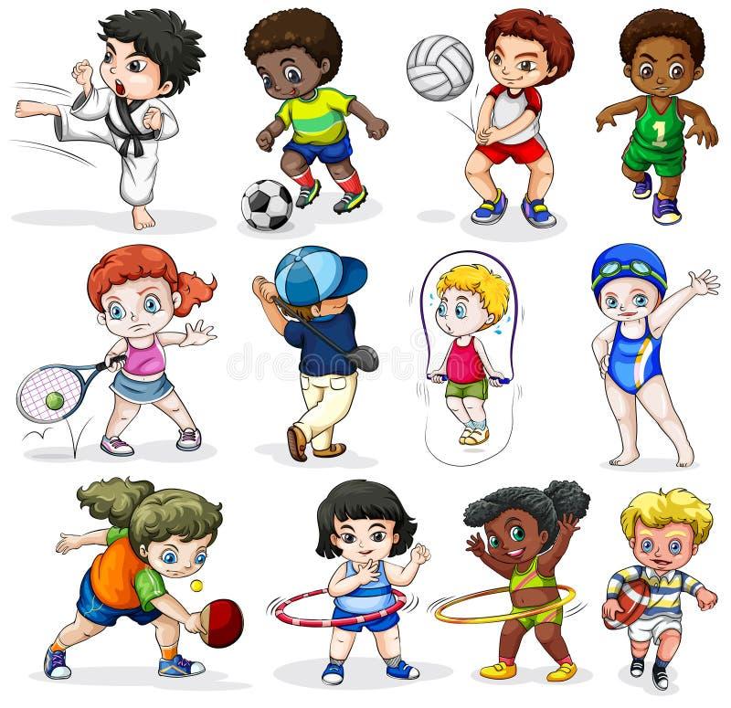 Kinder, die in den verschiedenen Sporttätigkeiten sich engagieren lizenzfreie abbildung