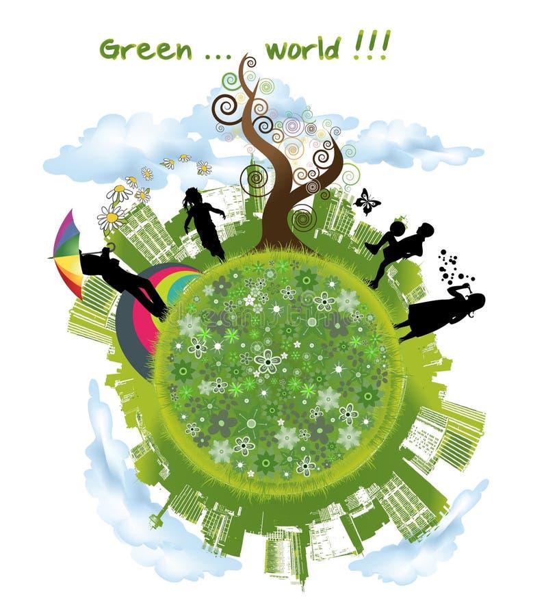 Kinder, die in der grünen Welt spielen stockbild