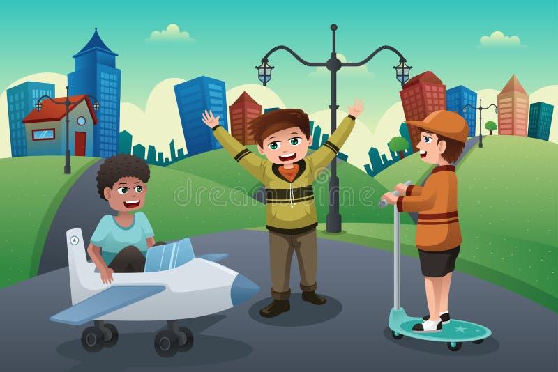 Kinder, die in der Straße einer Vorstadtnachbarschaft spielen vektor abbildung