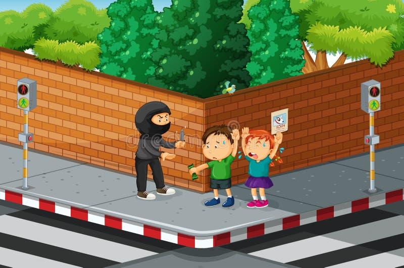 Kinder, die an der Straßenecke gekleidet sind lizenzfreie abbildung
