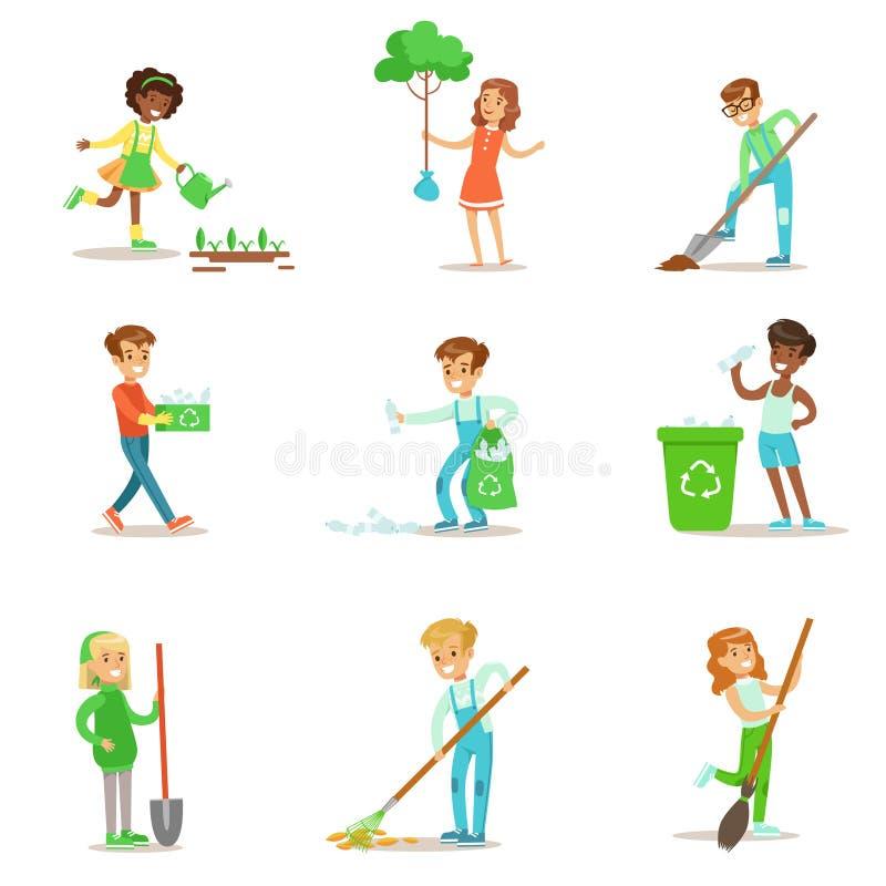Kinder, die in der umweltfreundlichen Gartenarbeit, Bäume pflanzend helfen und draußen räumen auf und bereiten den Abfall und die lizenzfreie abbildung