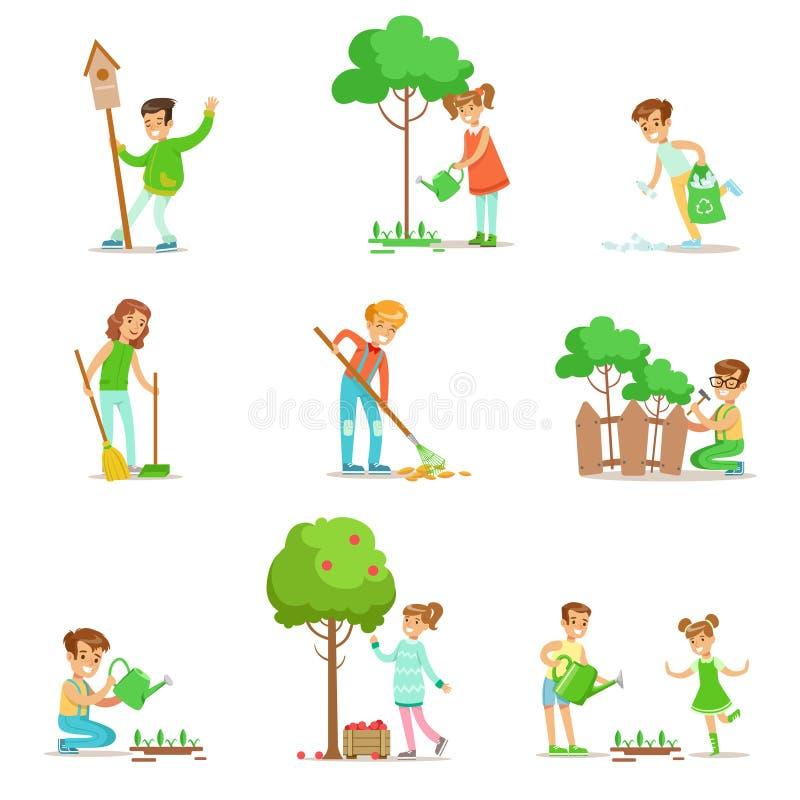 Kinder, die in der umweltfreundlichen Gartenarbeit, Frucht sammelnd helfen und draußen räumen auf und bereiten den Abfall und die stock abbildung