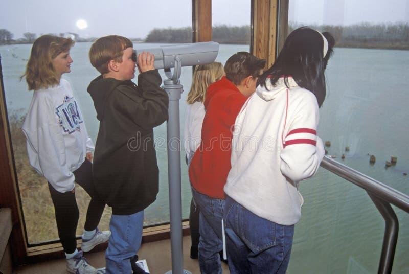 Kinder, die durch Teleskop, Iowa schauen lizenzfreie stockfotografie