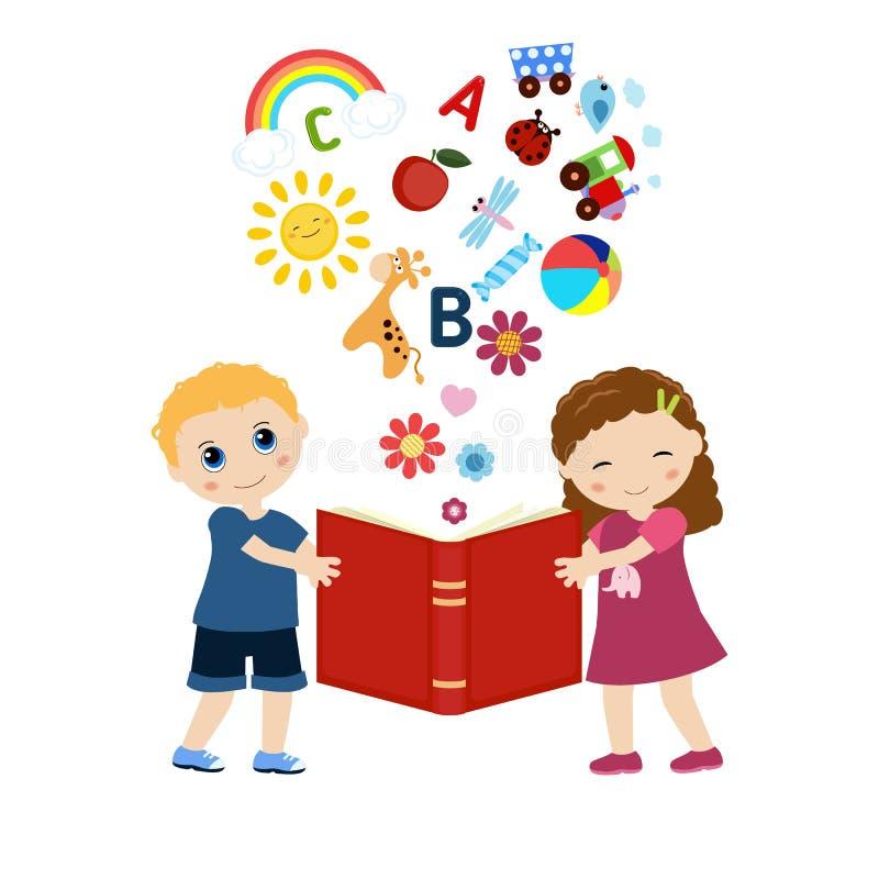 Kinder, die ein Buch halten stock abbildung