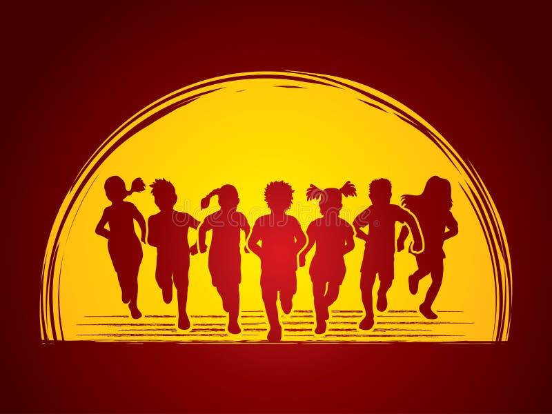 Kinder, die ein Rennen in der Wildnis laufen lassen lizenzfreie abbildung