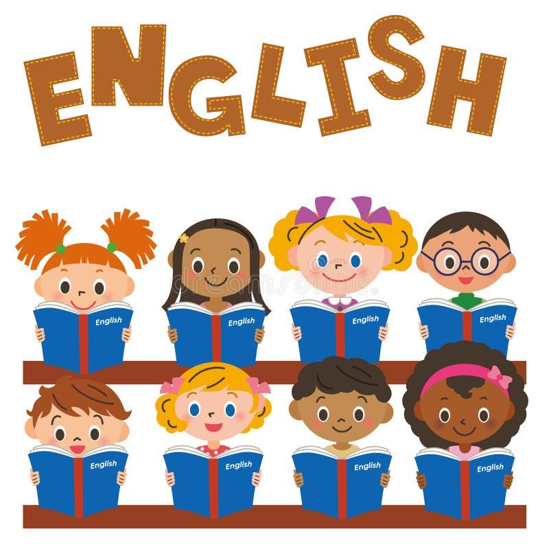 Kinder, die eine englische Studie machen lizenzfreie abbildung