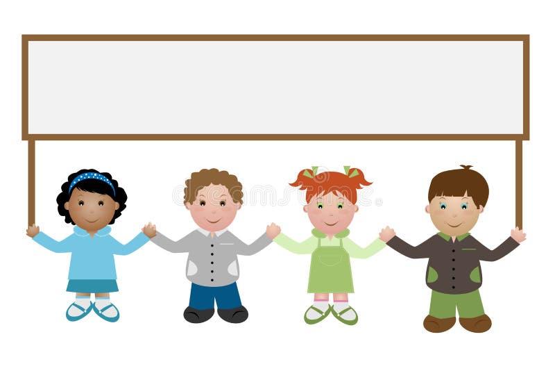 Kinder, die eine Fahne anhalten lizenzfreie abbildung