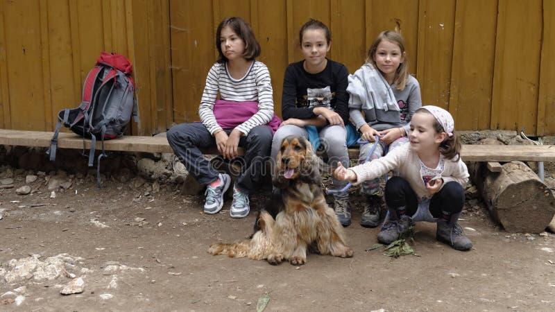 Kinder, die eine Pause beim Wandern machen lizenzfreies stockfoto