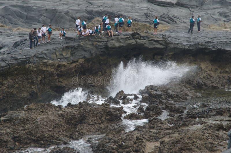 Kinder, die eine Welle betrachten lizenzfreies stockbild