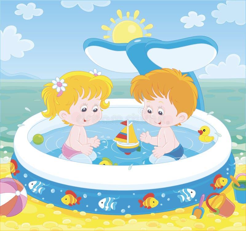Kinder, die in einem Kinderpool auf einem Strand spielen vektor abbildung