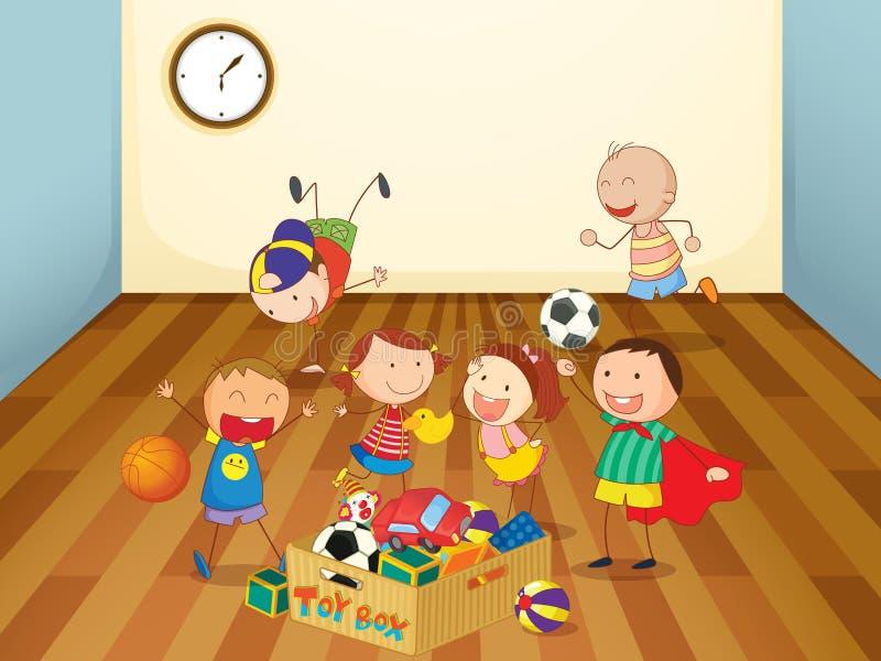 Download Kinder, Die In Einem Raum Spielen Vektor Abbildung - Illustration von menschlich, enjoy: 26352230