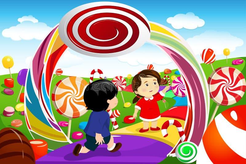 Kinder, die in einem Süßigkeitsland spielen lizenzfreie abbildung