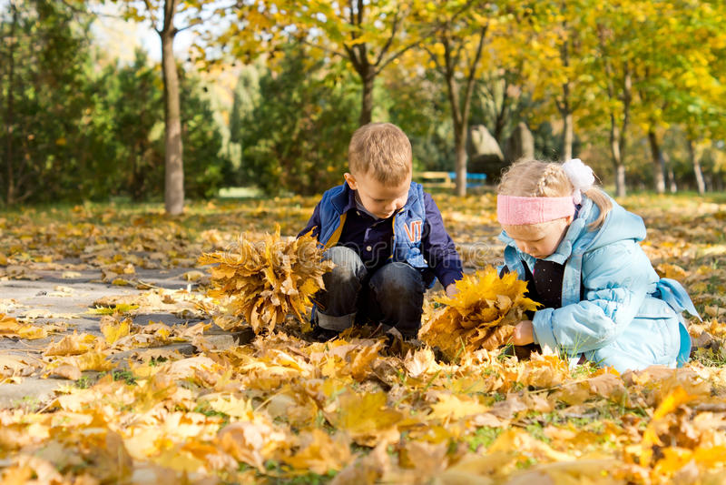 Kinder, die in einem Teppich der Herbstblätter spielen lizenzfreie stockbilder
