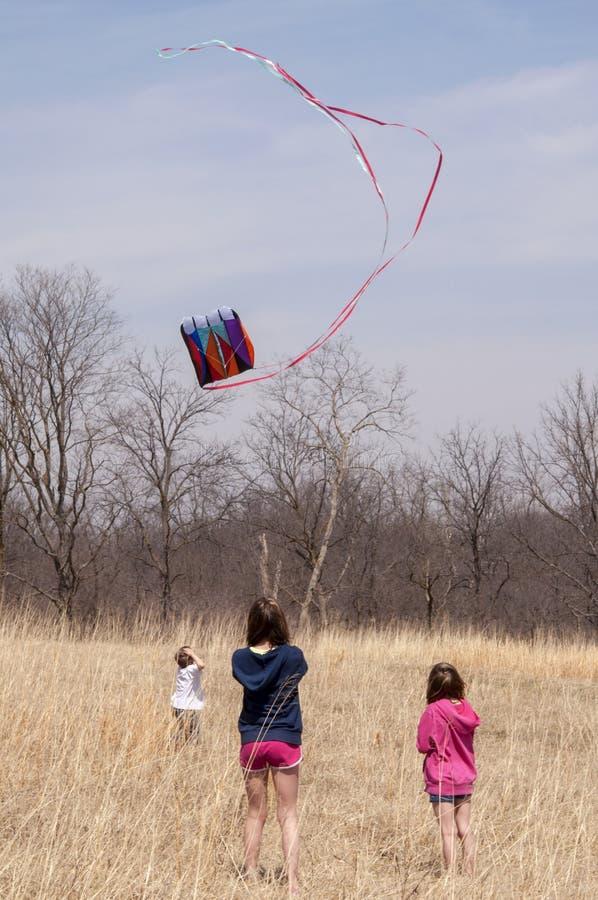 Kinder, die einen Drachen fliegen lizenzfreies stockbild