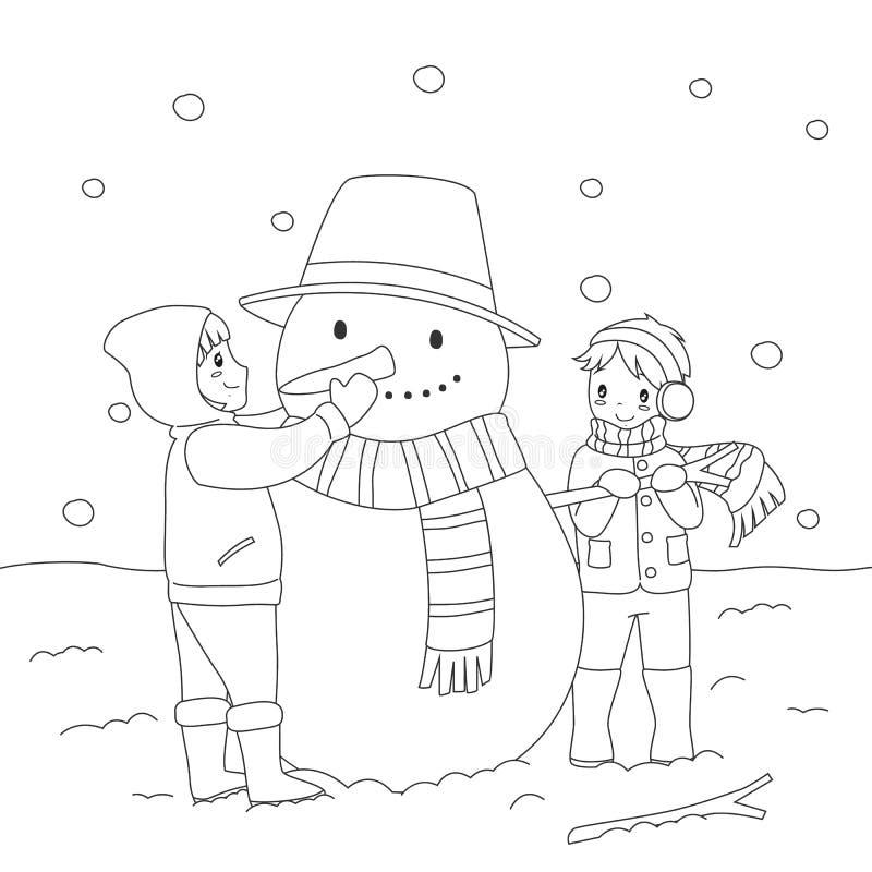 Kinder, die einen Schneemann aufbauen Farbton-Seiten-Karikatur-Vektor lizenzfreie abbildung