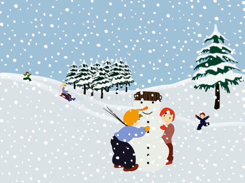 Kinder, die einen Schneemann bilden. Winterabbildung. stock abbildung
