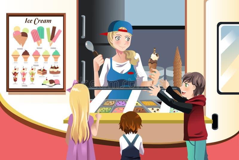 Kinder, die Eiscreme kaufen vektor abbildung
