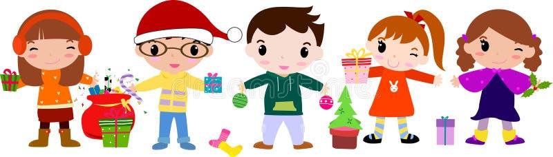 Kinder, die frohe Weihnachten wünschen lizenzfreie abbildung
