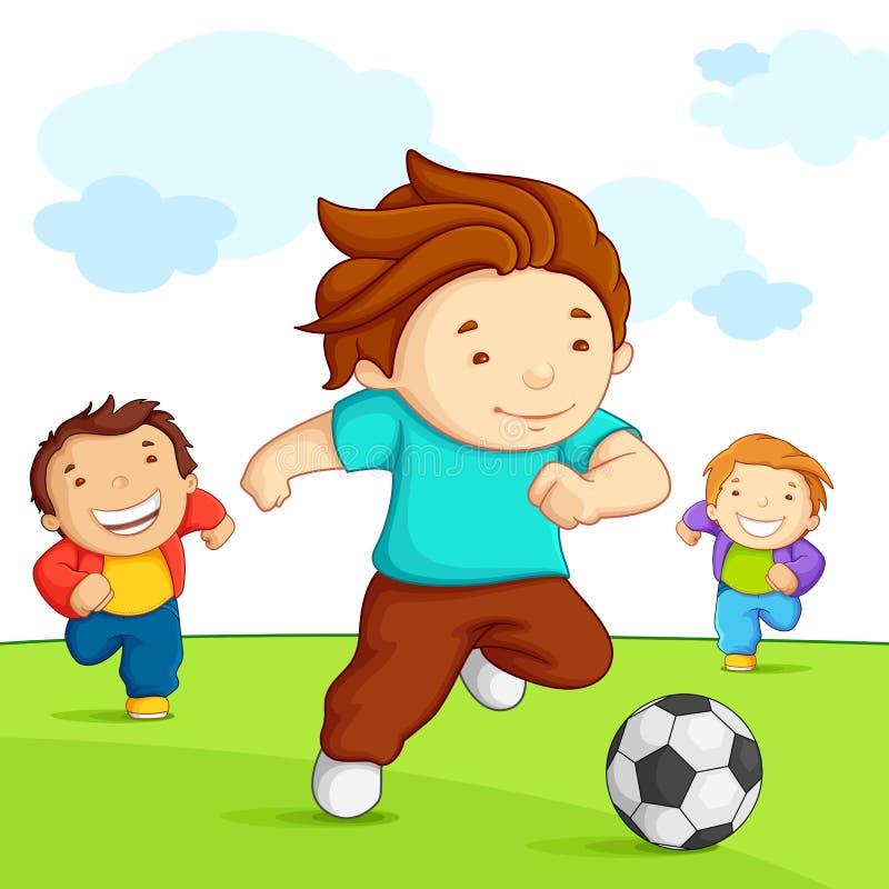 Kinder, die Fußball spielen lizenzfreie abbildung