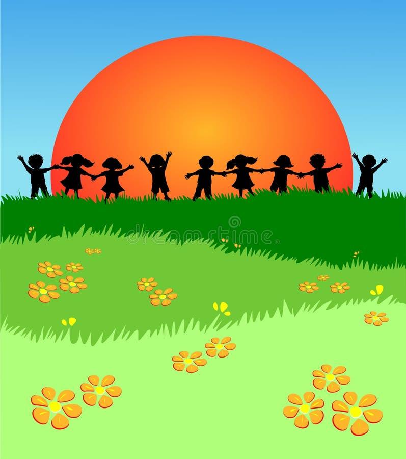 Kinder, die gegen ein einen Rasen spielen stock abbildung