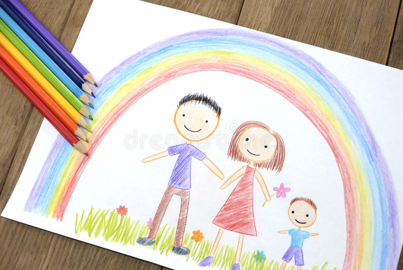 Kinder, die glückliche Familie zeichnen lizenzfreie stockbilder