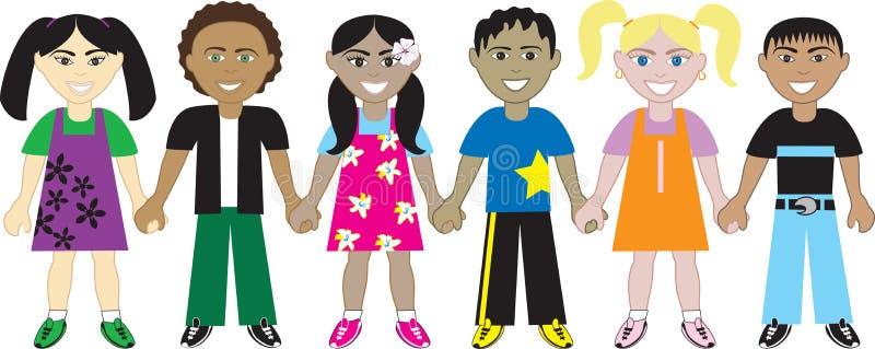 Kinder, die Hände 4 anhalten stock abbildung