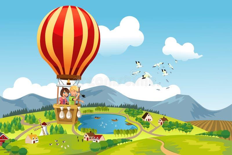 Kinder, die Heißluftballon reiten lizenzfreie abbildung