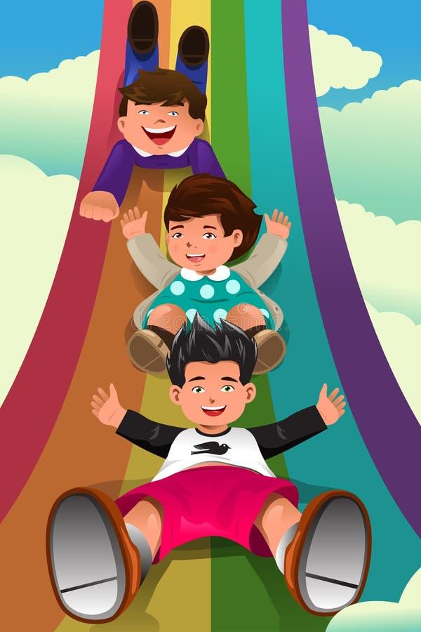 Kinder, die hinunter den Regenbogen schieben vektor abbildung