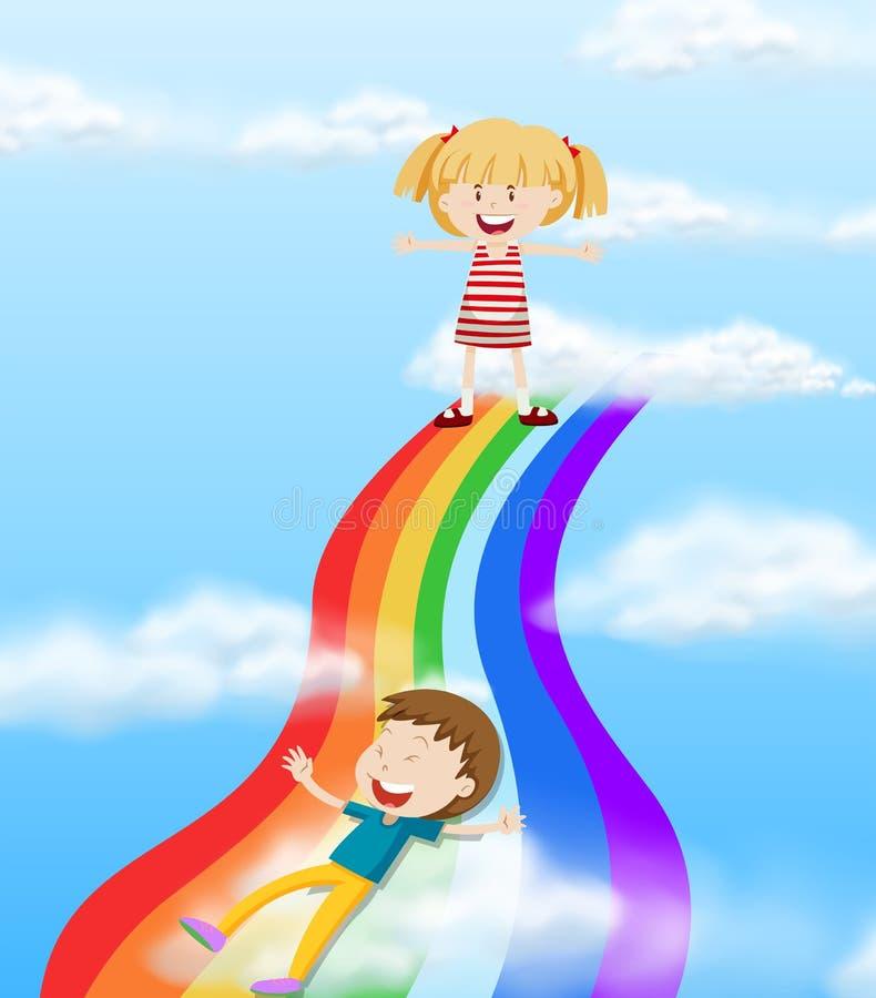 Kinder, die hinunter einen Regenbogen schieben vektor abbildung