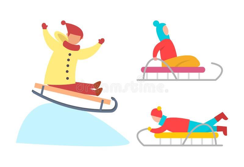Kinder, die hinunter Snowy-Eis-Steigungs-Vektor rodeln stock abbildung