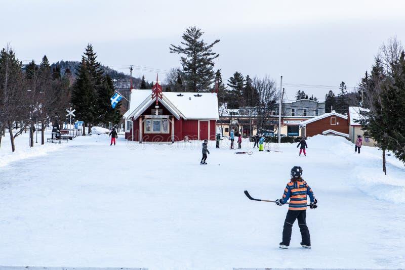 Kinder, die Hockey spielen lizenzfreie stockfotografie
