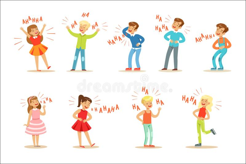 Kinder, die hysterisch heraus lauten Satz Zeichentrickfilm-Figuren mit dem Gelächter und Gekicher buchstabiert im Text lachen stock abbildung