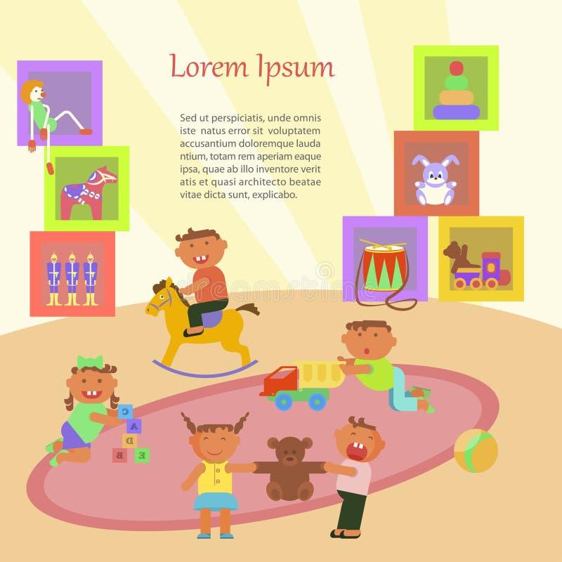 Kinder, die im Kindergarten spielen stock abbildung