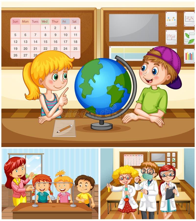 Kinder, die im Klassenzimmer mit Lehrer lernen lizenzfreie abbildung