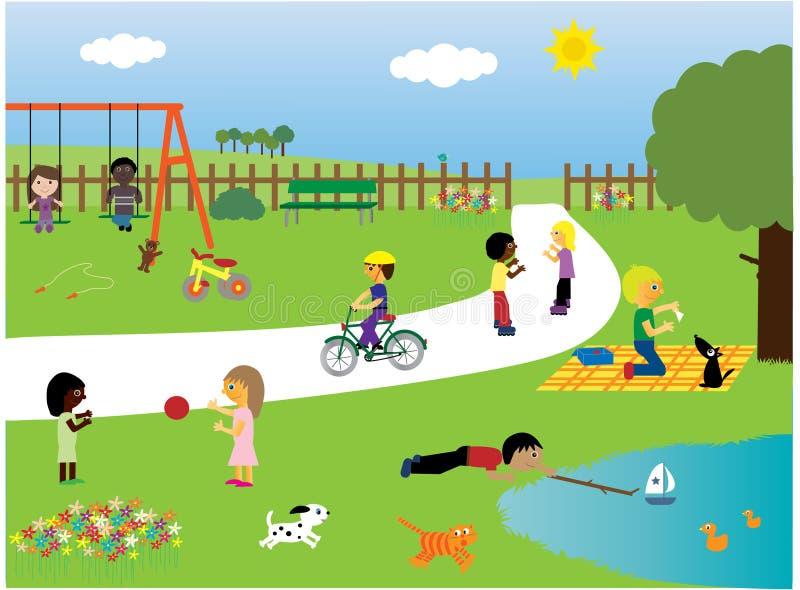 Kinder, die im Park spielen lizenzfreie abbildung