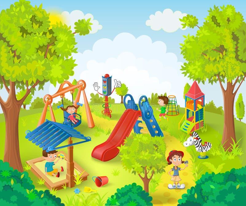 Kinder, die im Park spielen vektor abbildung