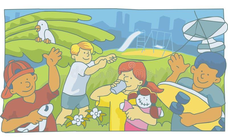 Kinder, die im Park spielen stockfoto