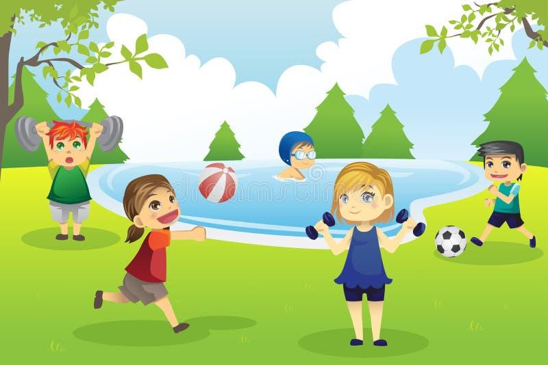 Kinder, die im Park trainieren stock abbildung