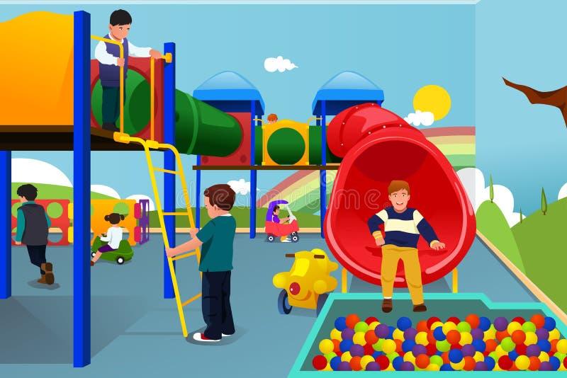 Kinder, die im Spielplatz spielen lizenzfreie abbildung
