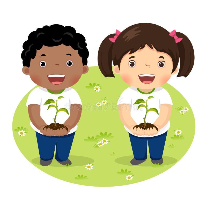 Kinder, die Jungpflanze halten vektor abbildung