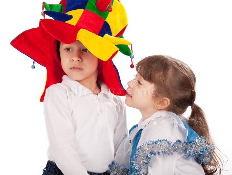 Kinder, die Karnevalskostüme tragen lizenzfreies stockfoto