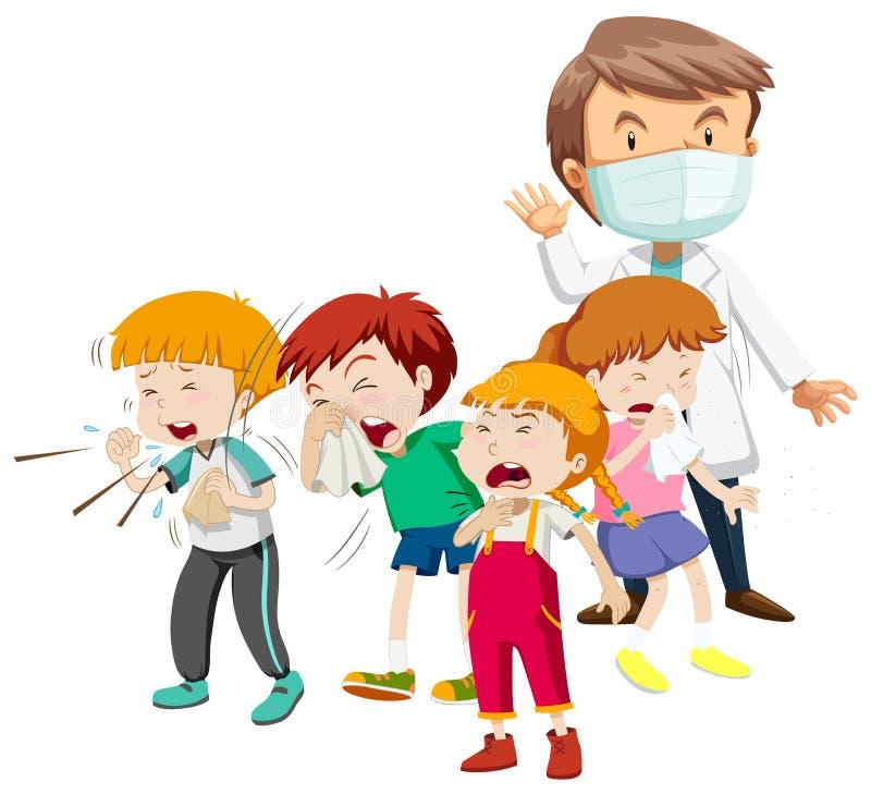Kinder, die krank sind und Doktor lizenzfreie abbildung