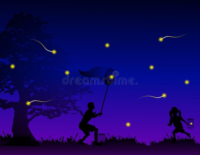Kinder, die Leuchtkäfer auf dem Gebiet abfangen lizenzfreie abbildung