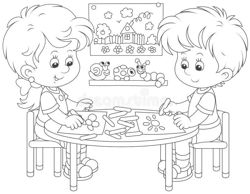 Kinder, die lustige Bilder zeichnen stock abbildung