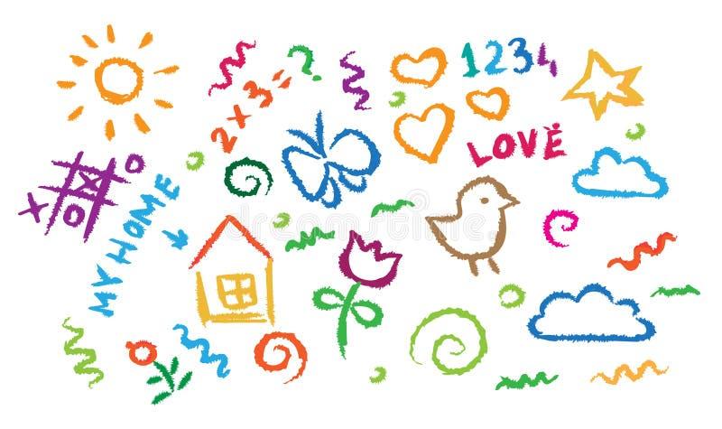 Kinder, die mehrfarbigen Symbolvektorsatz zeichnen lizenzfreie abbildung